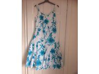 Ladies Per Una Lined Linen Floral Dress