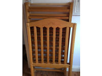 Wooden cot, great contition, new unused mattress