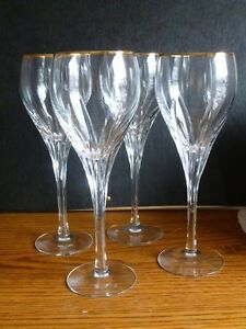 Lenox starfire water glass wine goblets crystal mint 4 gold rimmed - Lenox gold rimmed wine glasses ...