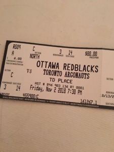 2 Redblacks tickets for Nov. 2, 2018 Game-3rd row seats