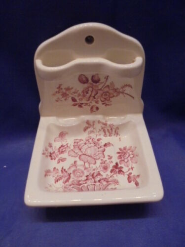 CHARLOTTE ROYAL CROWNFORD IRONSTONE ENGLAND SOAP DISH & TOOTHBRUSH HOLDER, Pink