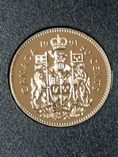1991 BU Specimen Canada Half Dollar from mint set 50 Cent 50c Uncirculated