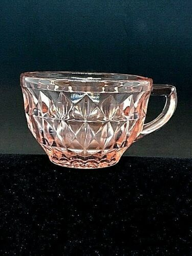 "VINTAGE PINK DEPRESSION GLASS ""WINDSOR DIAMOND"" CUP, ORIGINAL"