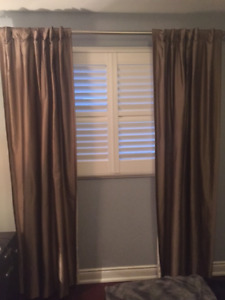 Silk Curtains with lining and chrystal rod