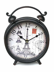 Nostalgic Table Clock Eiffel Tower 10 5/8in Watch Mantel Clock - 20085C