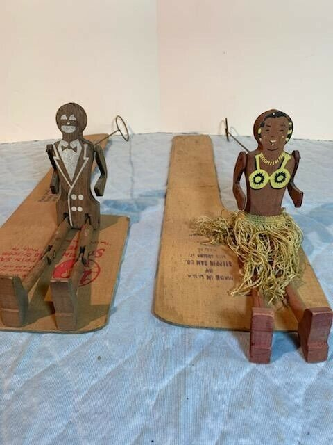 Antique STEPPIN' SAM & STEPPIN' SUE Figures with Dancing Boards