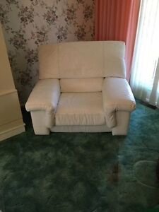 Vintage White Leather Couch Set