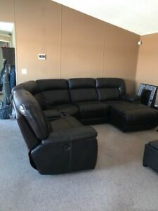 Brown Leather Sectional.