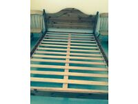 Double Pine Bed Frame & 2 Pine Wardrobes