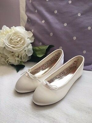 Rainbow Club Kids Girls Treacle flower girl ivory satin ballet pumps