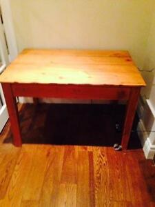 antique pine table with drawer .
