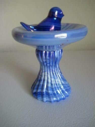 Gibson Glass 1990 Blue Swirl Bird Birdbath