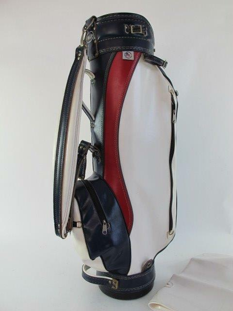 MILLER Vintage LEATHER Red White Blue PRO Man Cave Office Display Golf Club Bag