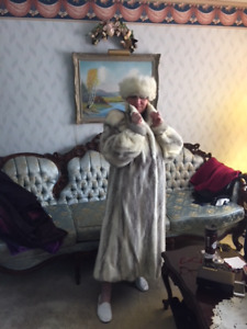 ladies full length mink fur coat