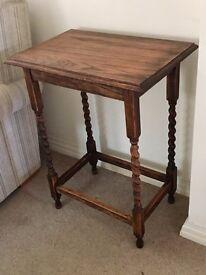 Antique Solid Oak Side Table - VGC