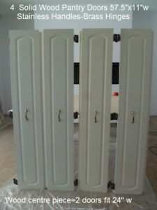 8 Pantry Cupboard Doors $100  4  Pairs 2 Sizes..Stainless Pulls