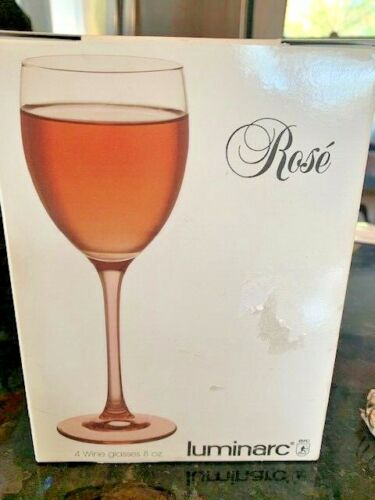 "4 vintage Luminarc Pink clear Stemmed Wine Glasses 7 3/4"" tall BOX 2 sets availa"