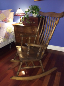 Gorgeous Refinished Solid Wood ANTIQUE Rocking Chair & MORE