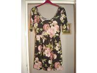 Pretty Short Floral Dress/Top - Designer - Oasis - Size - Large - New - £10 (originally £40)