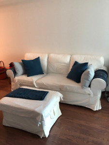 Great condition White Ikea Sofa and vintage dining table  set
