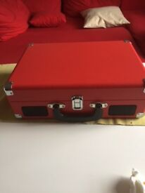 Turntable Denver VPL-120 Red 3 Speed Vinyl Record Player, Suitcase/Briefcase Style