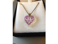 Sterling Silver Crystal necklace with 2 lovebirds