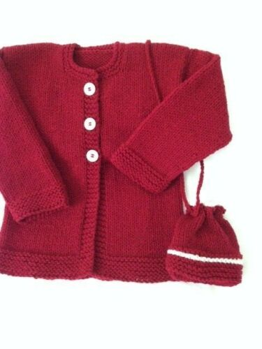 sweater girls 5-6 years new cardigan and bag hand knitted color burgundy