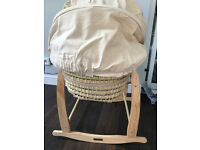 Clair de Lune ABC Palm Wicker Moses Basket (Cream) and Stand (Natural)
