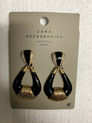 Zara Accessories Teardrop Dangle Earrings Black/Gold REF.1856/209 - Brand New