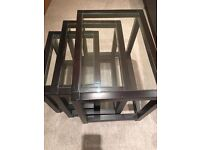 Beautiful Nest of Coffee Tables | Wood with Glass