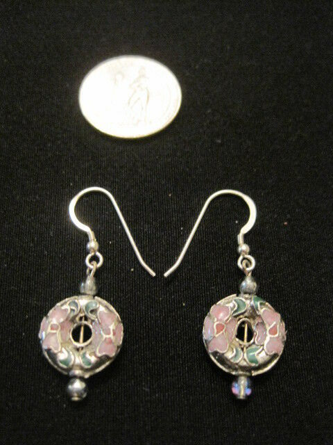 925 Sterling Silver Hooks with Cloisonne Dangle Earrings
