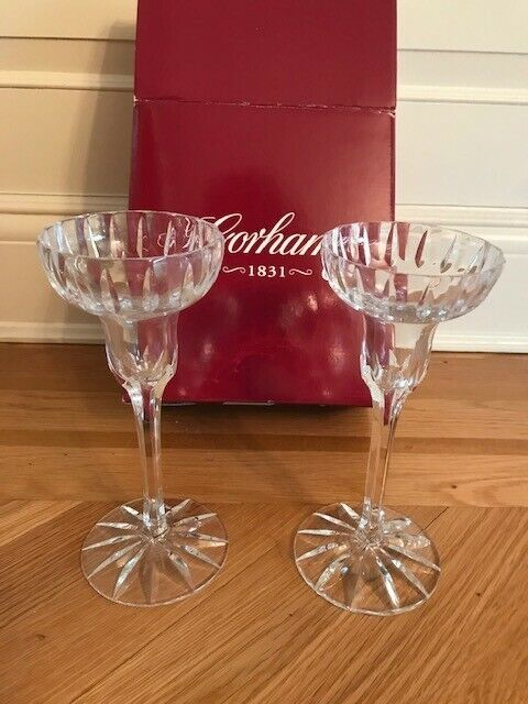 "Gorham Brilliance Silver Candlesticks 8"" Pair - New in Box"
