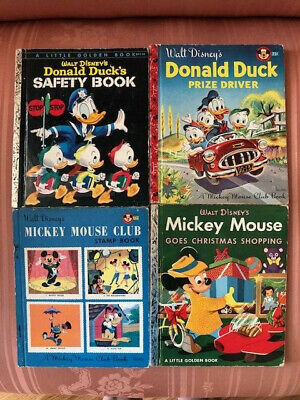 4 Vintage DISNEY Golden Books Mickey Mouse Club Christmas Shopping Donald Safety ()