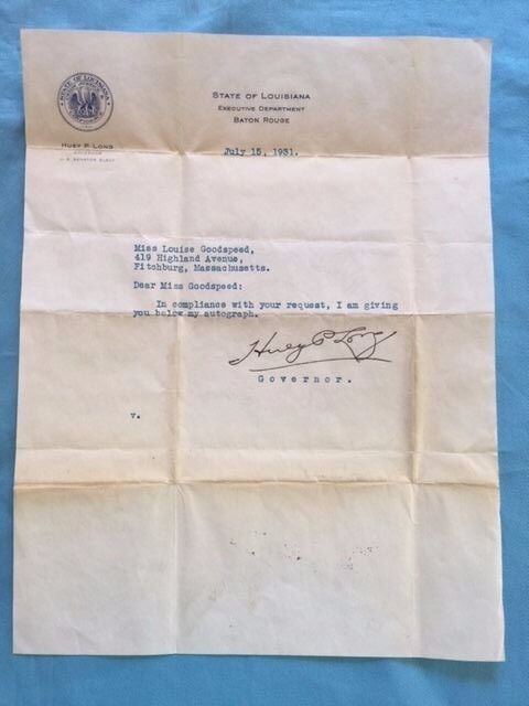 TYPED SIGNED LETTER FROM LOUISIANA STATE GOVERNOR HUEY P. LONG