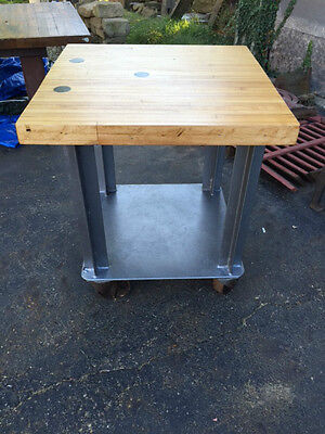 vintage industrial workbench table heavy iron casters bowling alley lane #17