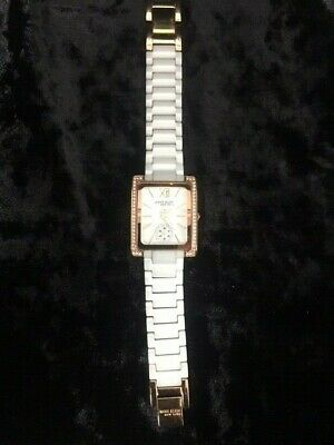 Anne Klein New York 12/2292WTRG Women's White Ceramic Rose Gold Watch - Preowned