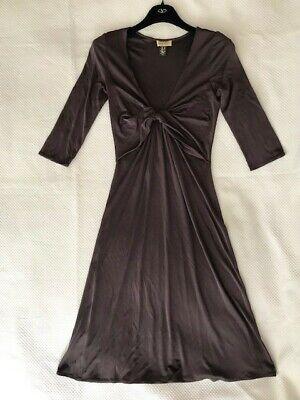 ISSA London Figure-hugging Fine Brown Silk Jersey Dress UK Size 10