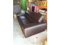 Chateaux d'Ax Italian Brown Leather Sofa