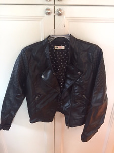 Cute Black Pleather Girl's Jacket