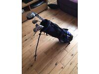 Ram junior golf set, inluding jaxx sand wedge and junior L size callaway glove.