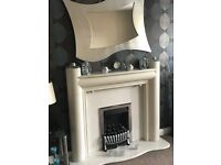Plaster cast Fire Surround, White Marble back and base, Gas Fire & Coals. Also silver frame mirror
