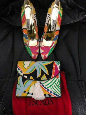Women's Escada Pump Heels Shoes Size 37/7US Floral Print With Matching Purse Floral Print Pumps