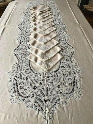 Vintage Antique Blush Ecru Linen Battenberg Lace Tablecloth 12 Napkins