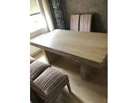Solid Beige Marble Dining Table and 6 Chairs