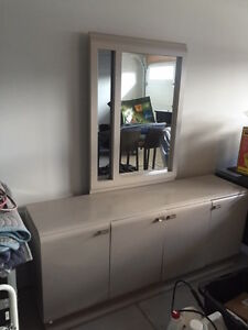 LARGE GRAY CONTEMPORARY DRESSER WITH MIRROR
