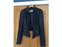 Black Real Leather Waterfall Jacket