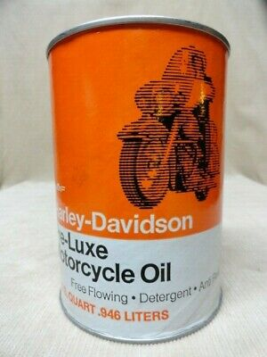 Vtg Harley Davidson Quart Oil Can Orange PreLuxe Cardboard Empty Fine Condition