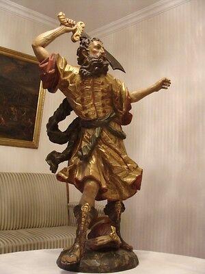Gigantische Alte Heiligen Holz Figur Schwertkämpfer Araber geschnitzt um 1930/50