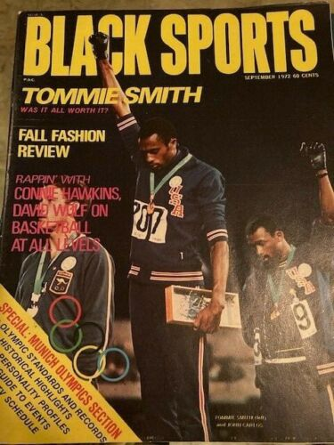 Vintage Black Sports Oct 1968, iconic cover, Tommie Smith & John Carlo