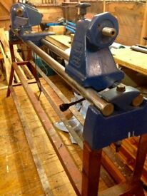 """Record CL3-48"""" Lathe with stand and bowl turning accesories."""